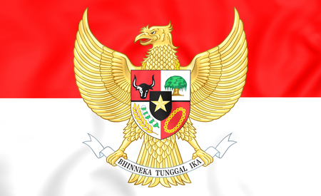 3D Flag of the Indonesia. Close Up.