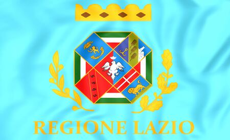 lazio: 3D Flag of Lazio, Italy. Close Up.