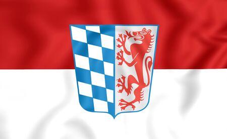 bavaria: 3D Flag of Lower Bavaria Regierungsbezirk, Germany. Stock Photo