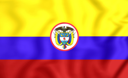 ensign: 3D Naval Ensign of Colombia. Close Up. Stock Photo