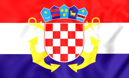 ensign: 3D Naval Ensign of Croatia. Close Up. Stock Photo