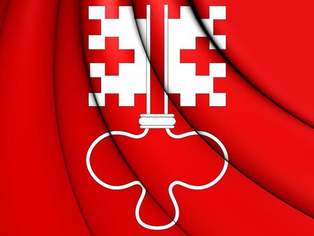 canton: 3D Flag of Nidwalden Canton, Switzerland. Close Up.