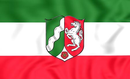 north rhine westphalia: 3D Flag of North Rhine-Westphalia, Germany. Close Up.