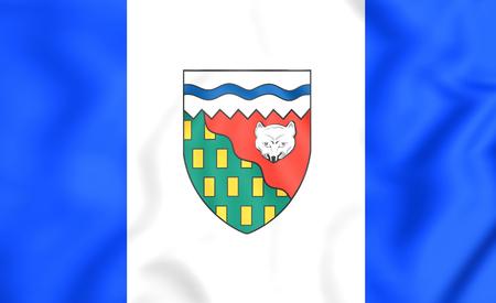 territories: 3D Flag of Northwest Territories, Canada. Close Up.