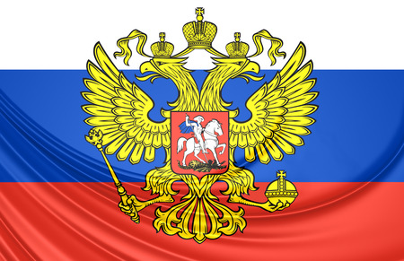 eagle coat of arms: 3D Flag of the Russia. Close Up.