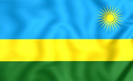 rwanda: 3D Flag of the Rwanda. Close Up.