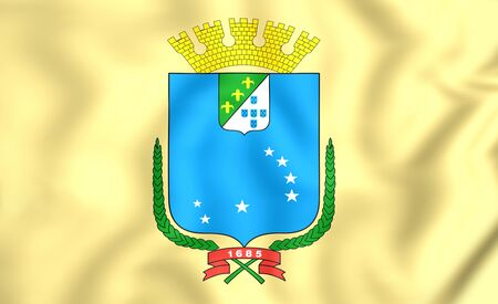 luis: 3D Flag of Sao Luis (Maranhao), Brazil.