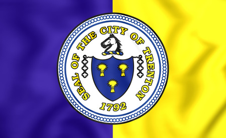 jersey city: 3D Flag of Trenton City (New Jersey), USA. Stock Photo