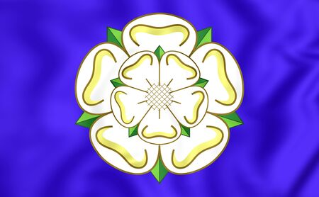 yorkshire: 3D Flag of Yorkshire, England. Close Up. Stock Photo
