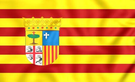 spainish: 3D Flag of Aragon, Spain. Close Up.