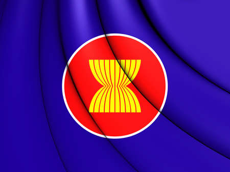 asean: 3D Flag of the ASEAN. Close Up.