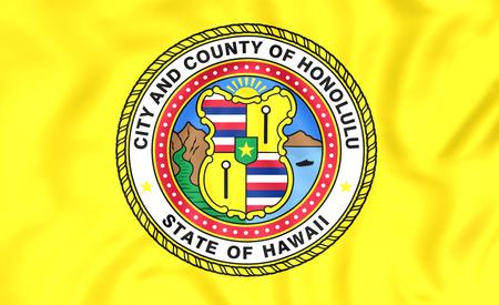honolulu: 3D Flag of Honolulu (Hawaii), USA. Close Up.