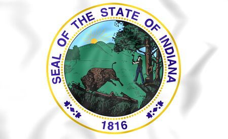 indiana: 3D State Seal of Indiana, USA. Close Up.