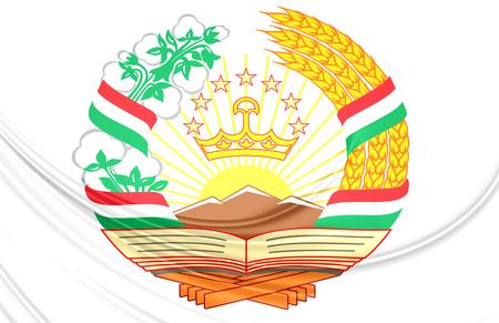 tajikistan: Tajikistan 3D Coat of Arms. Close Up. Stock Photo