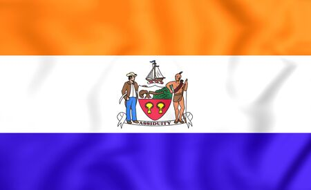 albany: 3D Flag of Albany (New York State), USA.