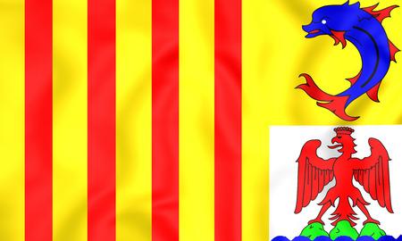 blason: 3D Flag of Provence-Alpes-Cote dAzur, France. Close Up.