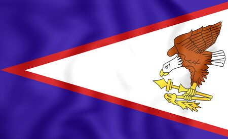 samoa: 3D Flag of American Samoa. Close Up.