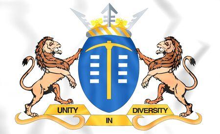 gauteng: 3D Flag of Gauteng, South Africa. Close Up.