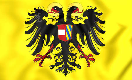 holy roman emperor: 3D Holy Roman Empire Flag (1493-1556). Close Up.