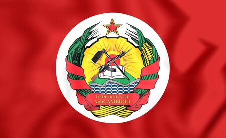 presidential: 3D Presidential Standard of Mozambique. Close Up.
