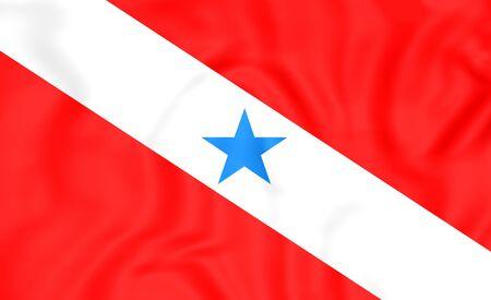para: 3D Flag of Para, Brazil. Close Up.