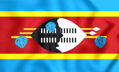 swaziland: 3D Flag of the Swaziland. Close Up.