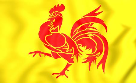 3D Flag of Wallonia Region, Belgium. Close Up.