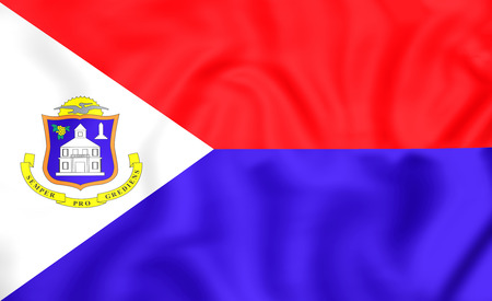 sint: 3D Flag of Sint Maarten. Close Up. Stock Photo