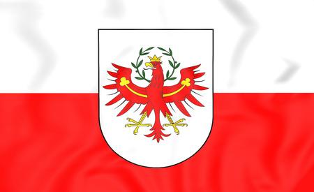 tirol: 3D Flag of Tyrol, Austria. Close Up. Stock Photo