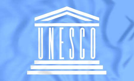 unesco: 3D Flag of the UNESCO. Close Up. Stock Photo