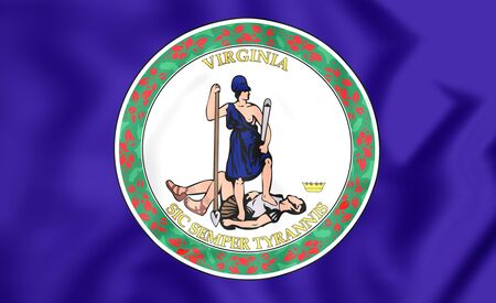 3d virginia: 3D Flag of Virginia, USA. Close Up.