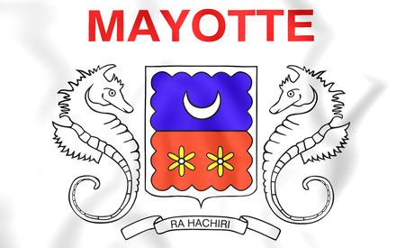 mayotte: 3D Department of Mayotte Flag. Close Up. Stock Photo