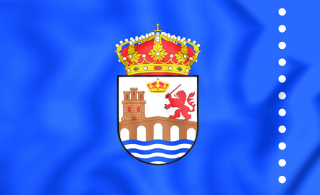 orense: 3D Flag of Ourense Province, Spain. Close Up. Stock Photo