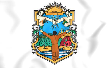 baja california: 3D Flag of Baja California State, Mexico.
