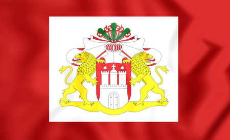 senate: 3D Senate of Hamburg Flag, Germany. Close Up. Stock Photo