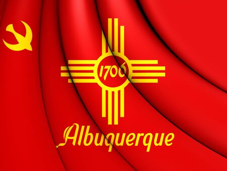 albuquerque: 3D Flag of Albuquerque (New Mexico), USA.