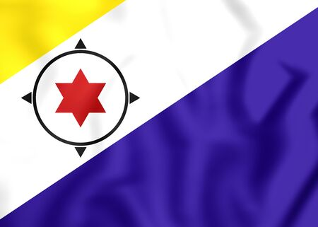 municipality: 3D Flag of Bonaire, Netherlands. Close Up.