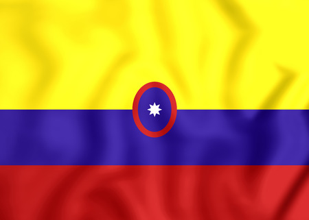 ensign: 3D Civil Ensign of Colombia. Close Up.