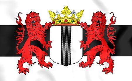 delft: 3D Flag of Delft (South Holland), Netherlands.