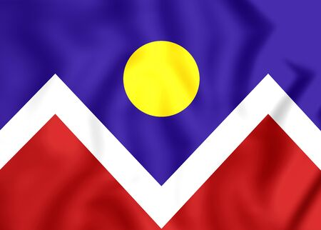 denver colorado: 3D Flag of Denver (Colorado), USA. Close Up. Stock Photo