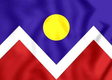 3D Flag of Denver (Colorado), USA. Close Up. Stock Photo