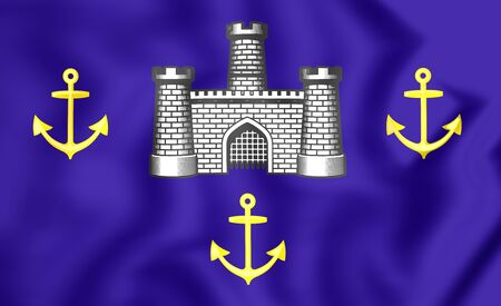 isle: 3D Isle of Wight Flag, England. Close Up. Stock Photo