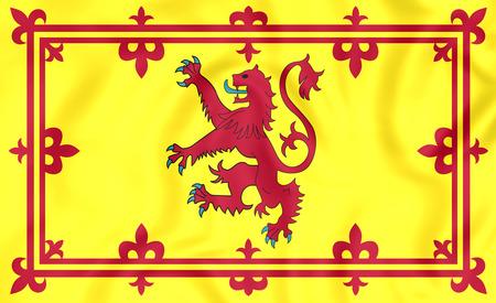 scots: 3D Royal Standard of Scotland. Close Up.