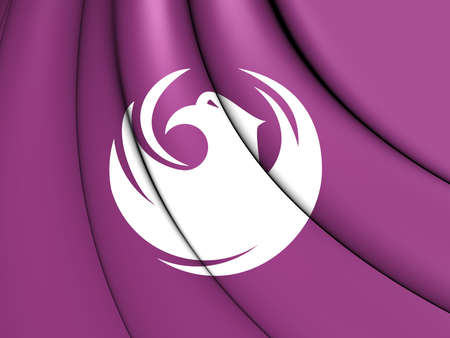 phoenix arizona: 3D Flag of Phoenix (Arizona), USA. Close Up. Stock Photo