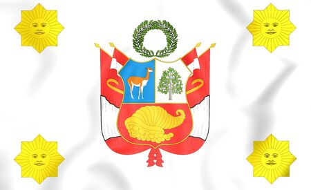 presidential: 3D Presidential Standard of Peru. Close Up. Stock Photo