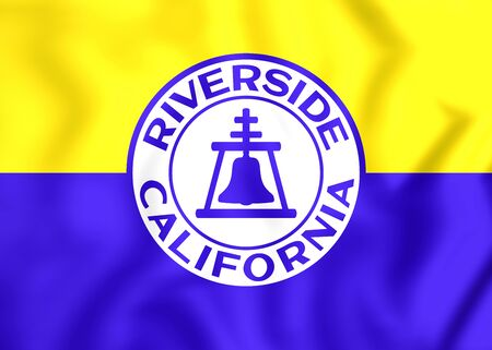 riverside: 3D Flag of Riverside (California), USA. Close Up. Stock Photo