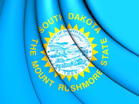 south dakota: 3D Flag of South Dakota, USA. Close Up.