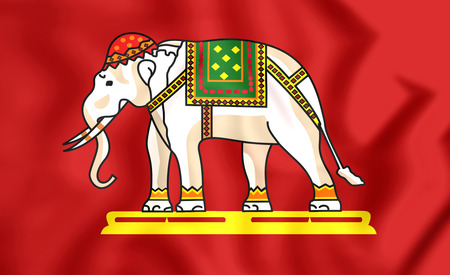 siam: 3D State Flag of Siam (1916). Close Up.
