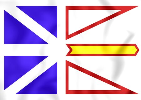 newfoundland: 3D Flag of Newfoundland and Labrador, Canada. Stock Photo