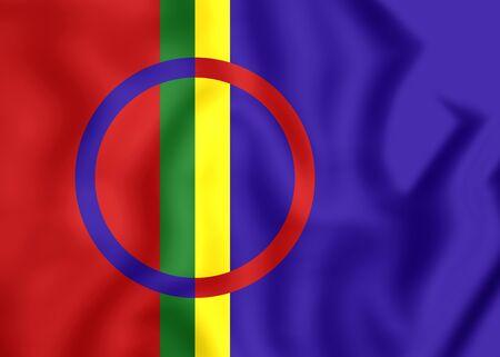 saami: Sami Flag. Close Up. 3D. Front View.